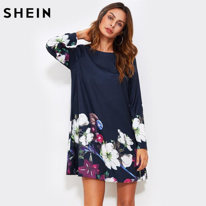 84d9f56d37d Shein Fall Dress Flower Print Flowy Dress Navy Boat Neck Long Sleeve A Line  Dress Autumn