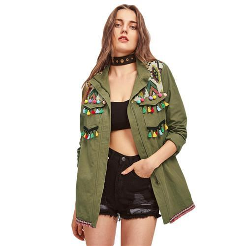 Shein Green Lapel Embroidered Yoke Tassel And Pom-Pom Trim Utility Jacket Zipper Casual Autumn-Jackets & Coats-SheIn Official Store-XS-EpicWorldStore.com