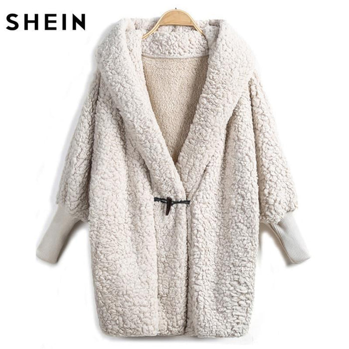 07a9c6a1e9 Shein Hooded Outwear Winter Newest Design Womens Apricot Batwing Long  Sleeve Loose-Jackets & Coats