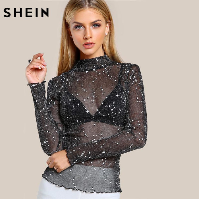 c395bf094f6a67 Shein Mock Neck Lettuce Hem Glitter Mesh Blouse Stylish Womens Long Sleeve  Tops Black High Neck
