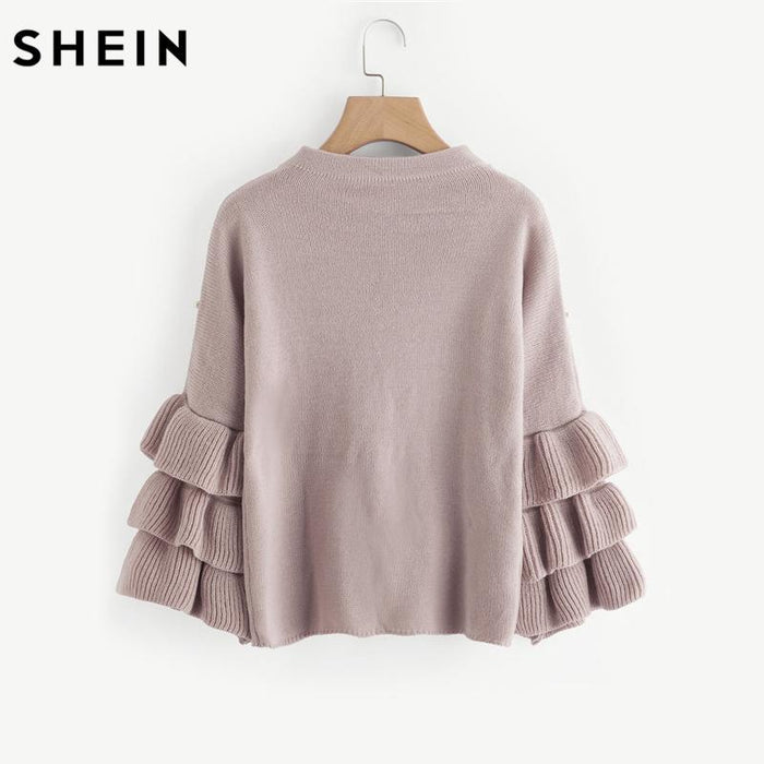 Shein Pearl Beaded Layered Ruffle Sleeve Loose Jumper Pink Crew Neck Long Sleeve Cute Women Sweaters-Sweaters-SheIn Official Store-EpicWorldStore.com