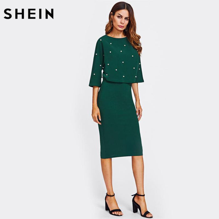 Shein Pearl Embellished Autumn Dress Elegant Womens Dresses Solid Green Half Sleeve Knee Length-Dresses-SheIn Official Store-XS-EpicWorldStore.com