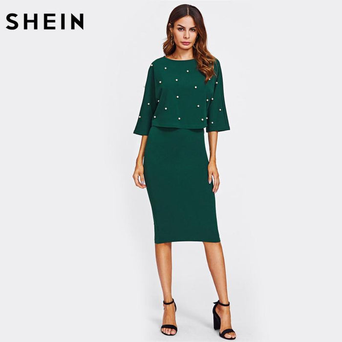 e147503f2c Shein Pearl Embellished Autumn Dress Elegant Womens Dresses Solid Green  Half Sleeve Knee Length-Dresses