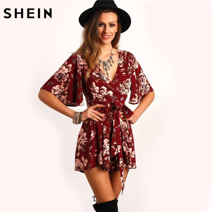 Shein Shorts Rompers Womens Jumpsuits Summer Ladies Red Stylish Deep V Neck Short Sleeve Floral Tie-Rompers-SheIn Official Store-S-EpicWorldStore.com