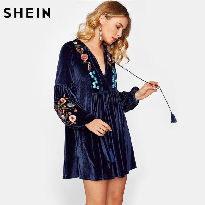 Shein Tasseled Tie Bishop Sleeve Embroidery Velvet Dress Navy Long Sleeve V Neck A Line Dress Fall-Dresses-SheIn Official Store-XS-EpicWorldStore.com
