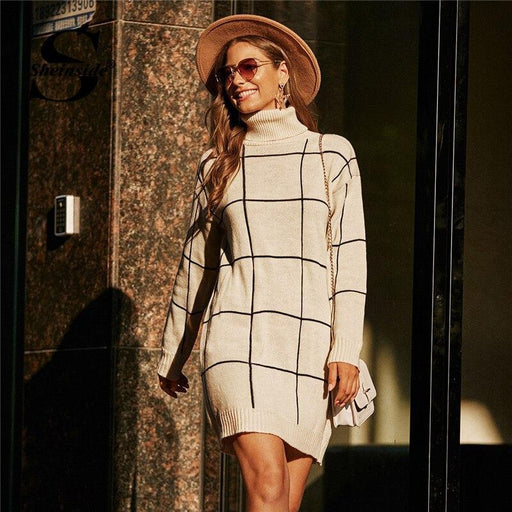 Sheinside Beige Grid High Neck Sweater Dress Women Winter Plaid Print Straight Dresses Ladies Casual-Home-Sheinside Official Store-Beige-S-EpicWorldStore.com