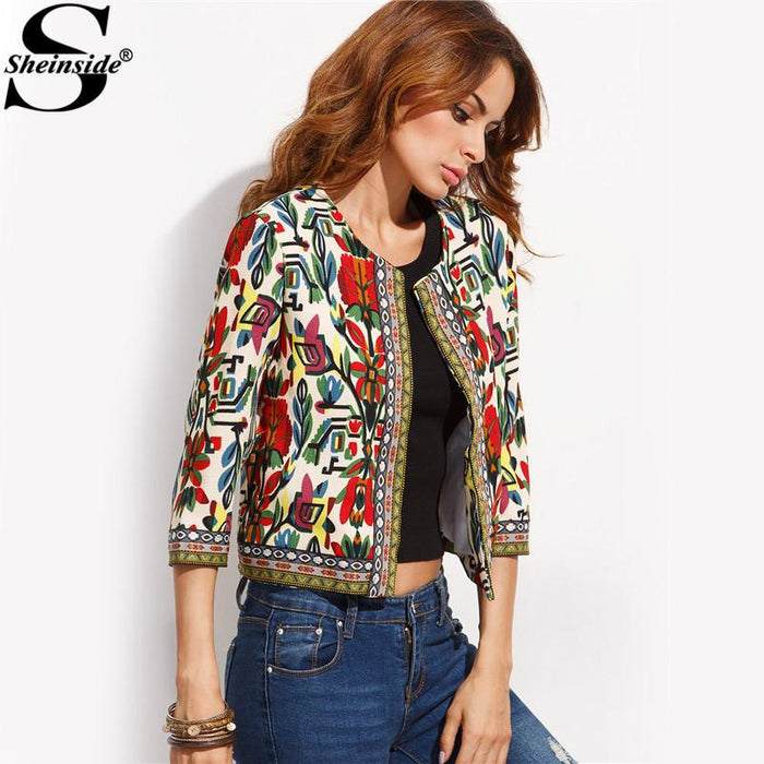 Sheinside Embroidery Outerwear Winter Tribal Print Office Ladies Women Coats And Jackets Vintage-Jackets & Coats-Sheinside Official Store-S-EpicWorldStore.com