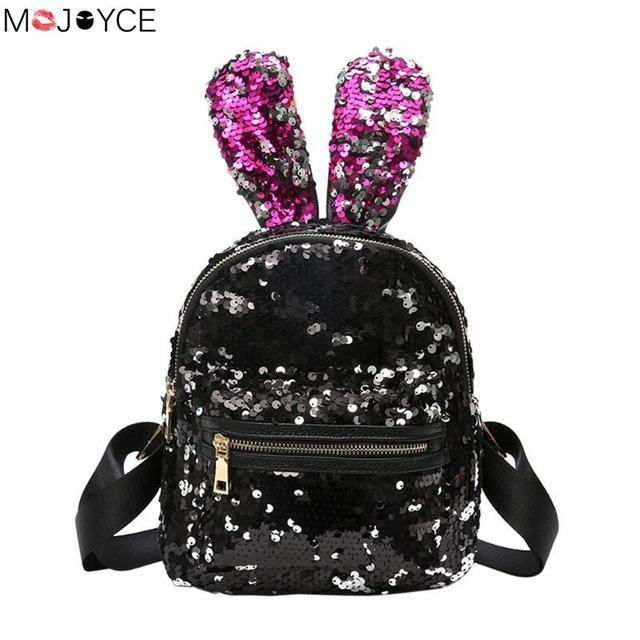 Shinning bling sequins cute big rabbit ears backpack for teenager girls  mochila shoulderbag women relaxed jpg a8521d043c303