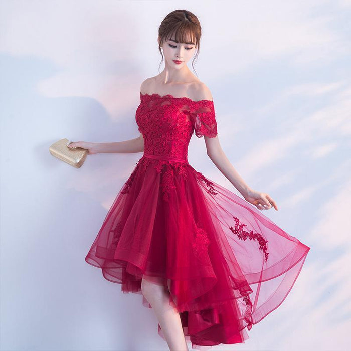 f2e220d0c2 Short Cap Sleeves Off Shoulder Prom Dresses Lace Appliques Tulle Red Prom-Prom  Dresses-
