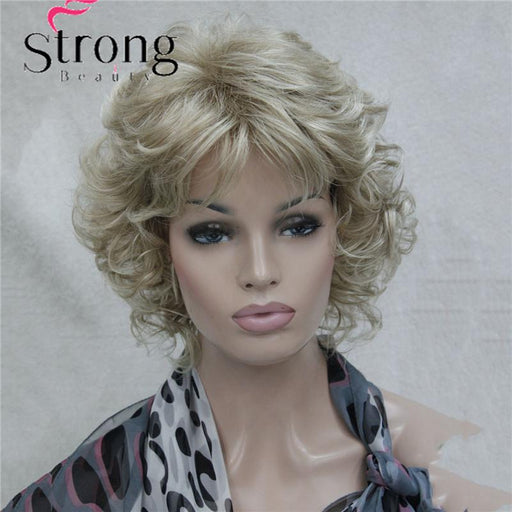 Short Soft Shaggy Layered Blonde Mix Full Synthetic Wig Curly Womens Synthetic Wigs-weiwei liu's store-P4/27-EpicWorldStore.com