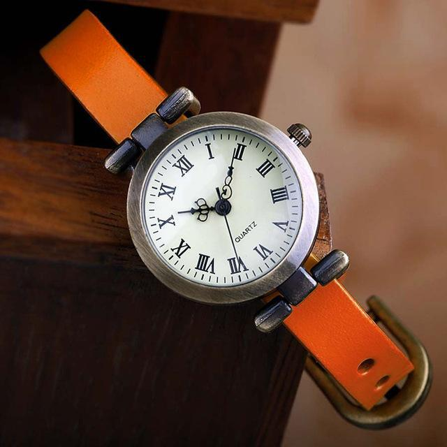 Shsby New Hot-Selling Leather Female Watch Roma Vintage Watch Women Dress Watches-Women's Watches-shsby watch Store-orange-EpicWorldStore.com