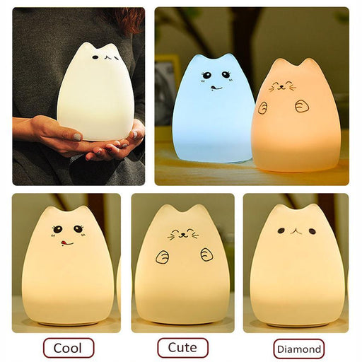 Silicone Touch Sensor Led Night Light For Children Baby Kids 7 Colors 2 Modes Cat Led Usb Led-LED Lamps-newstyle Official Store-Changeable-EpicWorldStore.com