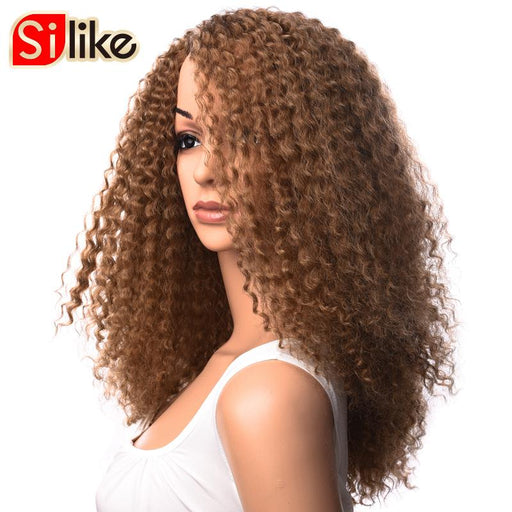 Silike Kanekalon Wigs Long Afro Kinky Curly Wig Medium Brown Synthetic Wigs For Black Women-Silike Official Store-#4-EpicWorldStore.com