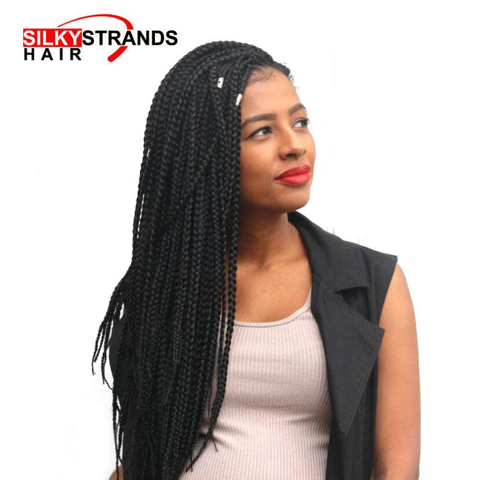 Silky Strands Crotchet Box Braids Hair Extensions Ombre Black Brown