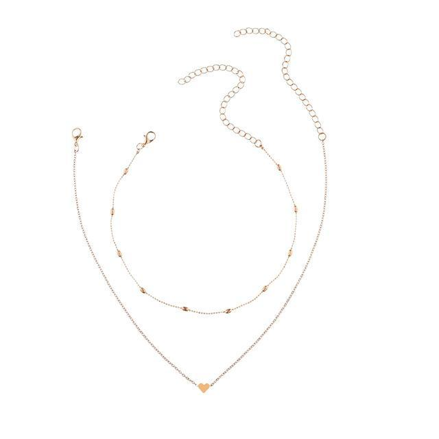 5eaab5d3f973f Silver Gold Color Jewelry Love Heart Necklaces & Pendants Double Chain  Choker Necklace Women