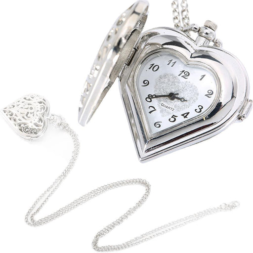Silver Hollow Quartz Heart Shaped Pocket Watch Necklace Pendant Chain Clock Women Gift-Pocket & Fob Watches-Stylish 88 Store-Silver-EpicWorldStore.com