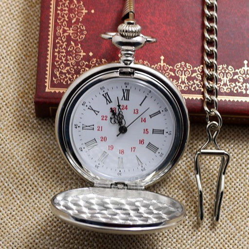 Silver Smooth Quartz Pocket Watch With Short Chain Best Gift To Men Women-Pocket & Fob Watches-Guangzhou Shenxuan Trade Co.,Ltd.-EpicWorldStore.com
