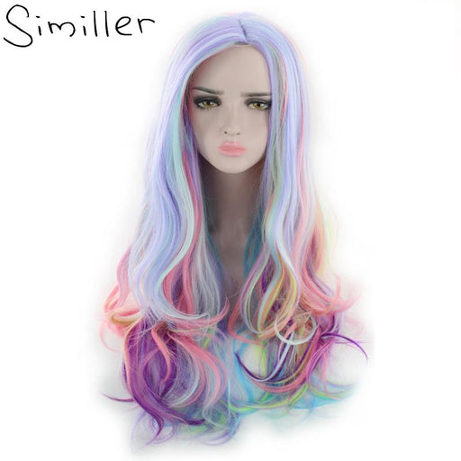 Similler Halloween Costume Wigs For Women Multicolor Long Curly Synthetic Wig Party Cosplay High-Similler Official Store-#1-EpicWorldStore.com