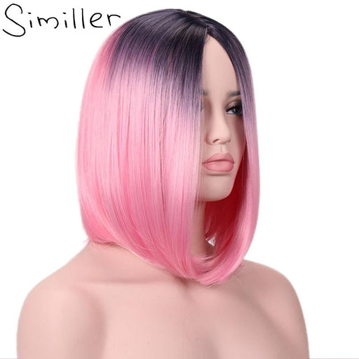 Similler Ombre Afro Women Short Synthetic Wigs Heat Resistance Fiber Hair Wig Two Tones Pink Red-Similler Official Store-T1B/350-EpicWorldStore.com