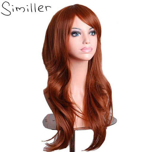"Similler Women 28"" Brown Long Curly Synthetic Cosplay Wigs For Party Christmas High Temperature-Similler Official Store-#1-EpicWorldStore.com"