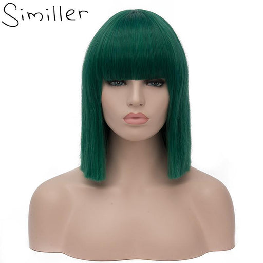 Similler Women Short Bob Synthetic Wigs High Temperature Fiber Hair With Fringe/Bangs And Rose Net-Similler Official Store-Natural Black-EpicWorldStore.com
