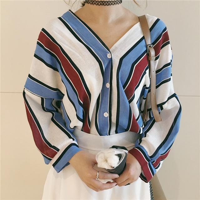 Simin Summer Women Loose Shirts Casual V Neck Stripes Print Bat Sleeves Blouses 3/4-Blouses & Shirts-SHOP Store-Blue-S-EpicWorldStore.com