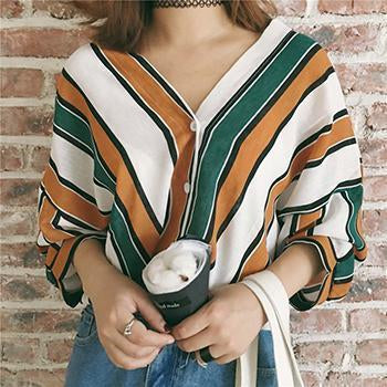 Simin Summer Women Loose Shirts Casual V Neck Stripes Print Bat Sleeves Blouses 3/4-Blouses & Shirts-SHOP Store-Green-S-EpicWorldStore.com