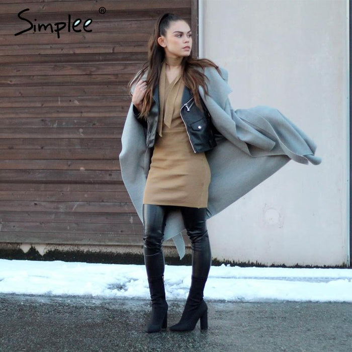 Simplee Black Ruffle Warm Winter Coat Women Turndown Long Coat Collar Overcoat Female Casual-Jackets & Coats-Simplee Apparel-Beige-S-EpicWorldStore.com