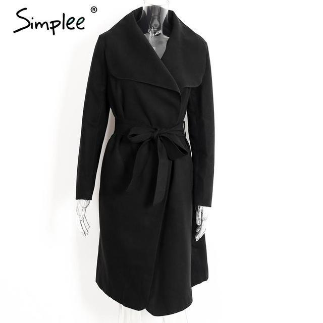 Simplee Black Ruffle Warm Winter Coat Women Turndown Long Coat Collar Overcoat Female Casual-Jackets & Coats-Simplee Apparel-Black-S-EpicWorldStore.com