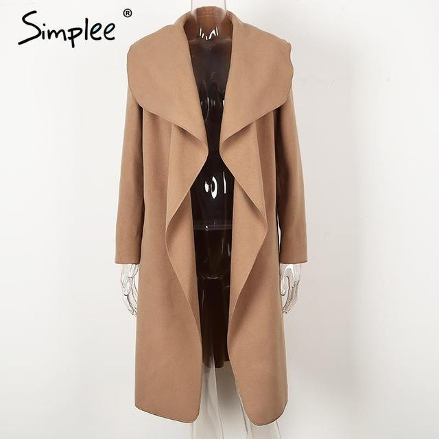 Simplee Black Ruffle Warm Winter Coat Women Turndown Long Coat Collar Overcoat Female Casual-Jackets & Coats-Simplee Apparel-Camel-S-EpicWorldStore.com