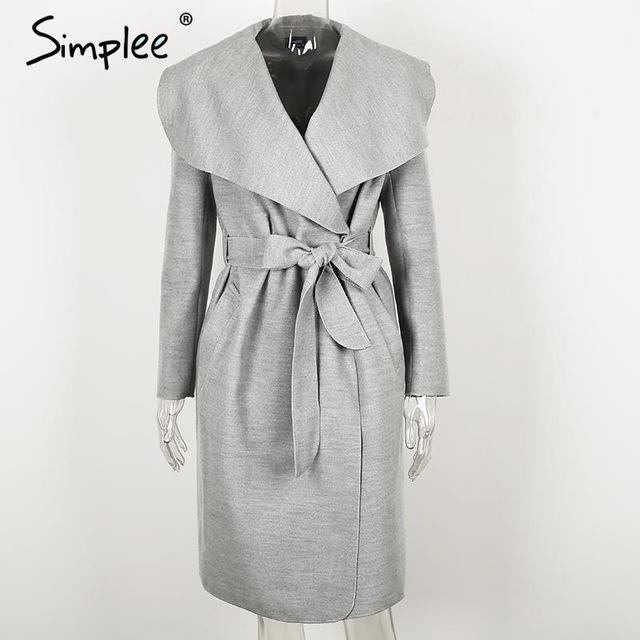 Simplee Black Ruffle Warm Winter Coat Women Turndown Long Coat Collar Overcoat Female Casual-Jackets & Coats-Simplee Apparel-Gray-S-EpicWorldStore.com