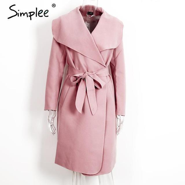 Simplee Black Ruffle Warm Winter Coat Women Turndown Long Coat Collar Overcoat Female Casual-Jackets & Coats-Simplee Apparel-Pink-S-EpicWorldStore.com