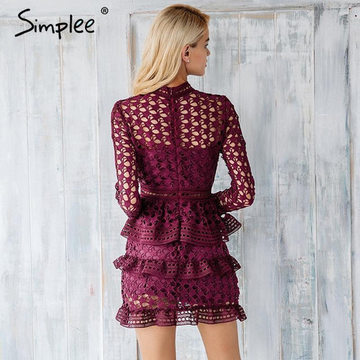 Simplee Elegant Hollow Out Ruffle Lace Dress Women Vintage Long Sleeve Slim Short Dress Stylish-Dresses-Simplee Apparel-White-S-EpicWorldStore.com