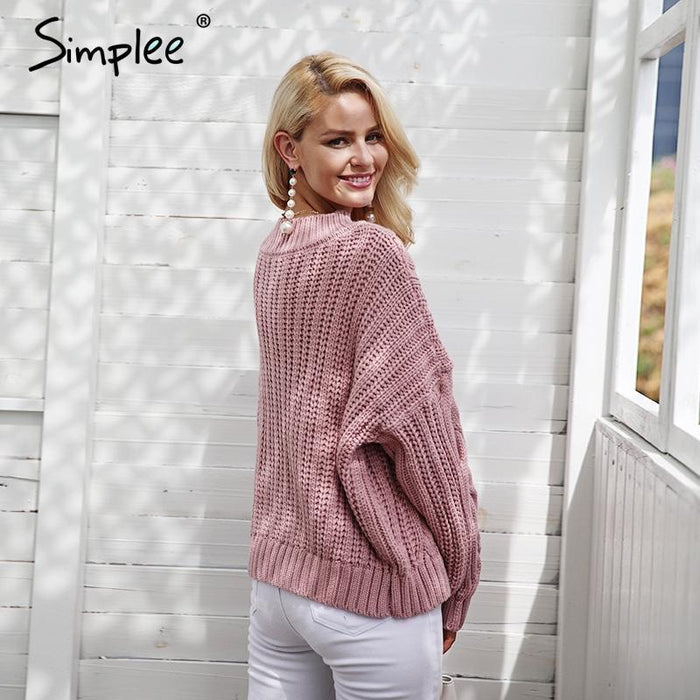 Simplee Knitting Pullover Autumn Winter Long Sleeve Sweater Women Pull  Femme Streetwear Soft-Sweaters- 776bcb804