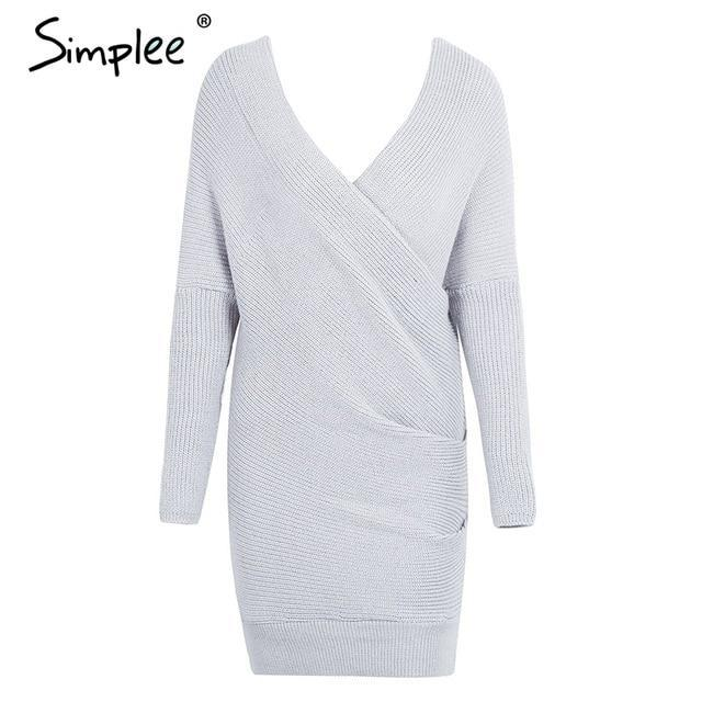 Simplee Sexy V Neck Cross Knitting Sweater Dress Women Elegant Long Sleeve Pullover Female Winter-Dresses-Simplee Apparel-Black-One Size-EpicWorldStore.com