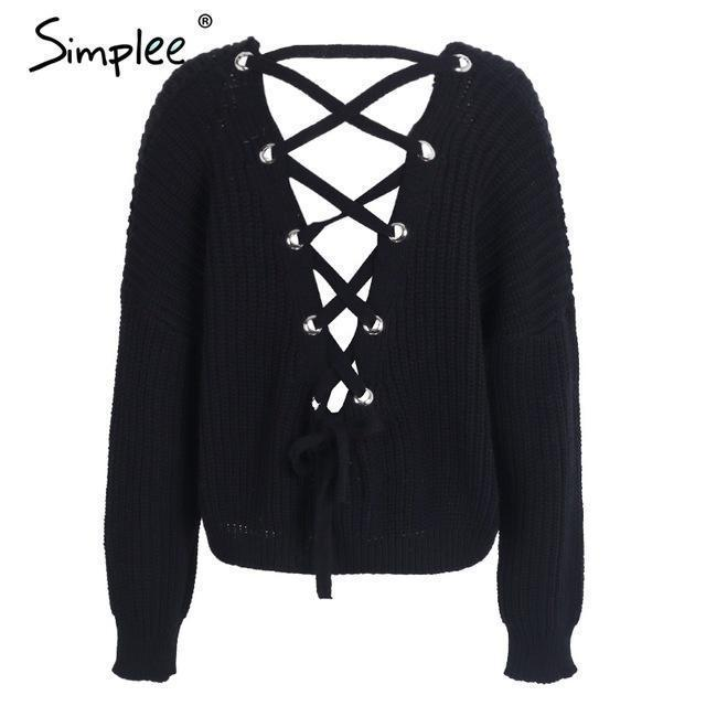 Simplee Stylish Backless Knitting Pullover Lace Up Autumn Winter Sweater Women Tops Casual-Sweaters-Simplee Apparel-Black-EpicWorldStore.com