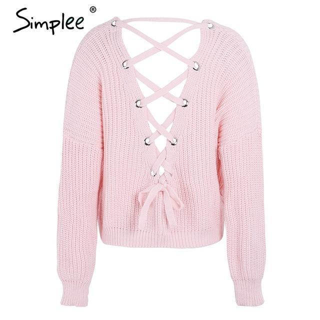 Simplee Stylish Backless Knitting Pullover Lace Up Autumn Winter Sweater Women Tops Casual-Sweaters-Simplee Apparel-Pink-EpicWorldStore.com