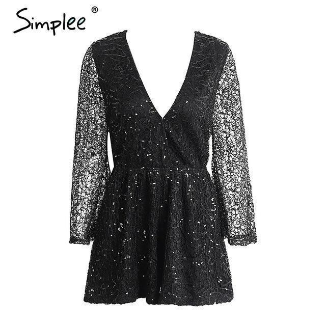 Simplee Stylish Lace Gold Sequin Jumpsuit Romper Women Deep V Neck Hollow Out Overalls Summer-Rompers-Simplee Apparel-Black-S-EpicWorldStore.com