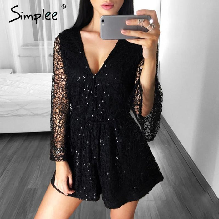 Simplee Stylish Lace Gold Sequin Jumpsuit Romper Women Deep V Neck Hollow Out Overalls Summer-Rompers-Simplee Apparel-Gold-S-EpicWorldStore.com