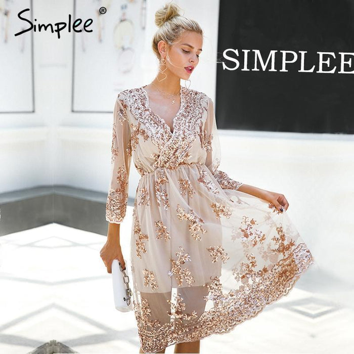 Simplee V Neck Long Sleeve Sequin Party Dresses Women Stylish Mesh Streetwear Christmas Midi Dress-Dresses-Simplee Apparel-Beige-S-EpicWorldStore.com