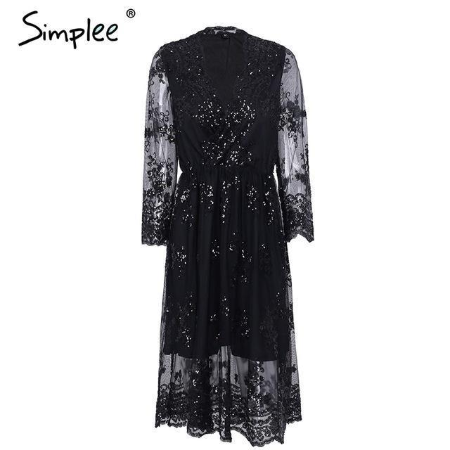 Simplee V Neck Long Sleeve Sequin Party Dresses Women Stylish Mesh Streetwear Christmas Midi Dress-Dresses-Simplee Apparel-Black-S-EpicWorldStore.com