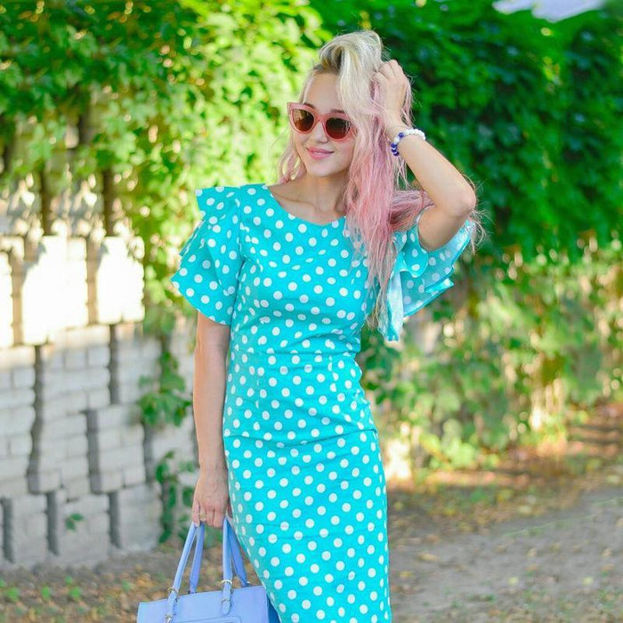 Sisjuly Women Bodycon Dress Petal Sleeve Cute Dot Dress Female Sheath Pin Up Dress Natural Round-Dresses-Sisjuly Official Store-S-EpicWorldStore.com