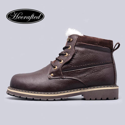 Size 38~50 Natural Wool Winter Boots Russian Style Full Grain Leather Sheep Fur Handmade Men-Shoe Accessories-HECRAFTED handmade shoes Flagship Store-Brown 1-6.5-EpicWorldStore.com