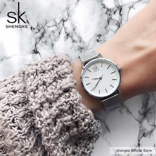 Sk Super Slim Sliver Mesh Stainless Steel Watches Women Top Brand Luxury Casual Clock Ladies Wrist-Women's Watches-shengke Official Store-gold-EpicWorldStore.com