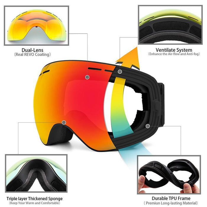 542f8a7ab422ec Action Sports Ski Snowboard Goggles UV Protection Anti-Fog Snow Goggles for Men  Women Youth Skiing