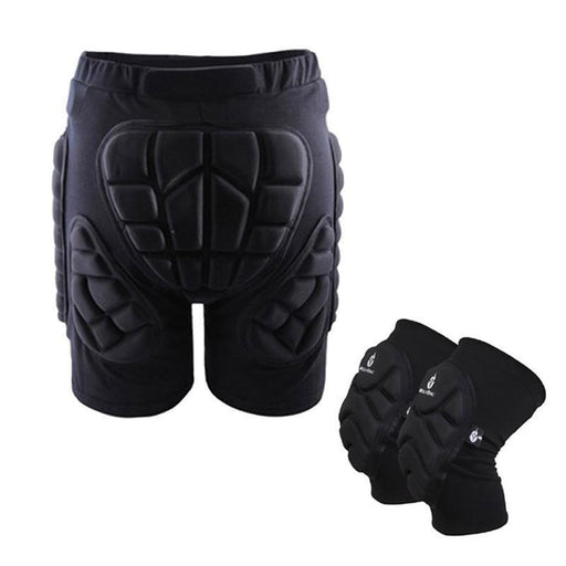Ski Protective Hip Pad Padded Shorts+Protective Knee Pads Skiing Skating Snowboarding Impact-Roller,Skate board &Scooters-YELSPORT Store-XS-EpicWorldStore.com