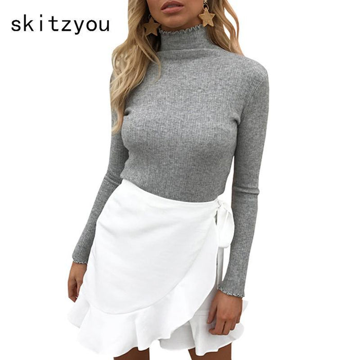 Skitzyou Sweater Women Knitted Long Sleeve Turtleneck Bottoming White Basic Pullovers Slim Fit-Sweaters-skitzyou Boutique Store-Beige-S-EpicWorldStore.com