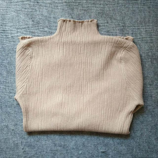 Skitzyou Sweater Women Knitted Long Sleeve Turtleneck Bottoming White Basic Pullovers Slim Fit-Sweaters-skitzyou Boutique Store-Khaki-S-EpicWorldStore.com