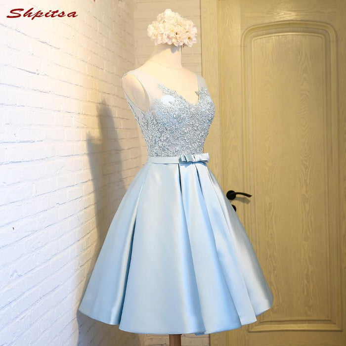 beautiful and charming reasonable price elegant and sturdy package Sky Blue Short Lace Homecoming Dresses Cocktail Prom Dresses Appliques 8  Grade Graduation Dresses