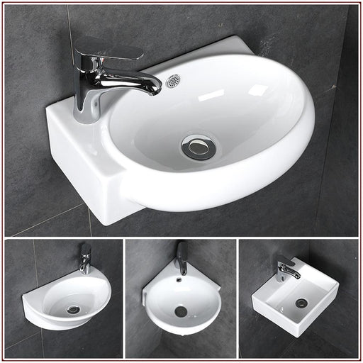 Small Wash Basin Ceramic Bathroom Sink Mini Hanging Basin White Bathroom Small Wash Basin Sink-Bathroom Sinks-Akemi Store-A1-EpicWorldStore.com